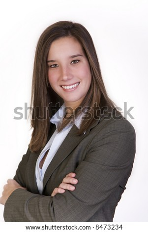 Attractive, confident businesswoman in a suit