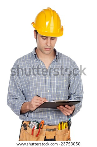 Attractive construction worker on a over white background