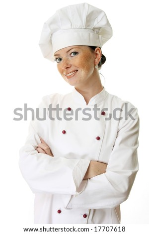 Attractive cook woman a over white background - stock photo