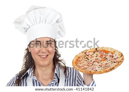 Attractive cook woman holding a tasty Italian pizza - stock photo