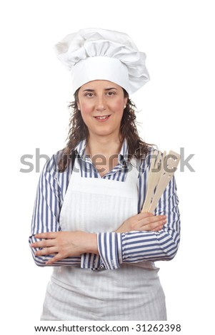 Attractive cook woman isolated on white background - stock photo