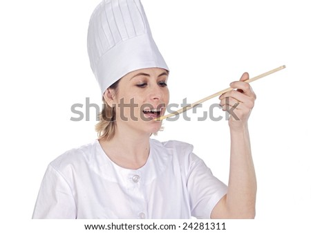 Attractive cook woman on a over white background