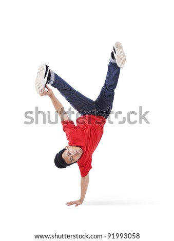 Attractive cool guy breakdancing on white background - stock photo
