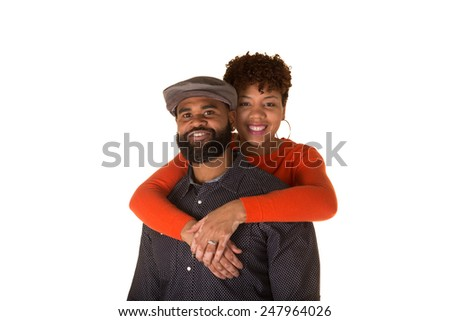 Attractive couple embracing - stock photo