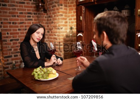 Attractive couple in a restaurant