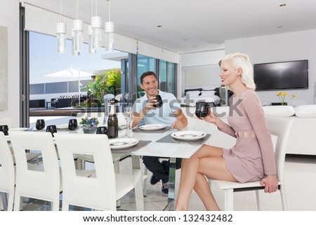 Attractive couple in luxury apartment