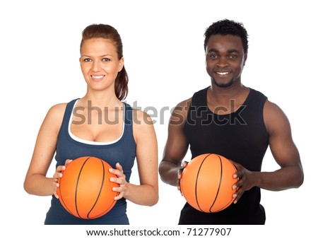Attractive couple with basketball isolated on a over white background - stock photo