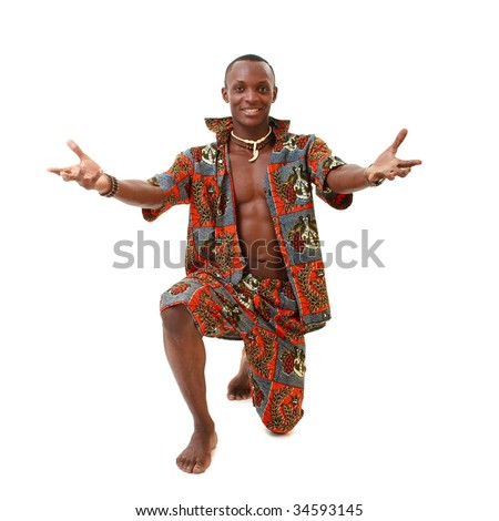 Attractive dancer standing on a white background - stock photo