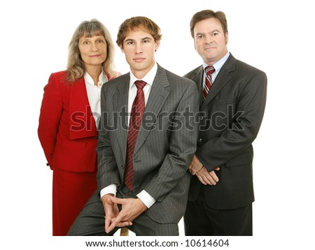 Attractive, diverse business team.  Isolated on white.