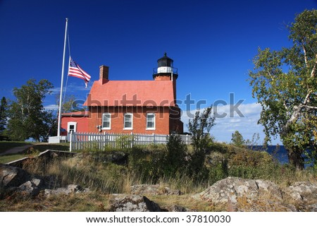 Attractive Eagle Harbor Lighthouse, in the Upper Peninsula of  Michigan - stock photo
