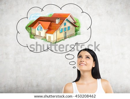 Attractive european woman thinking about real estate on concrete background. Mortgage concept - stock photo