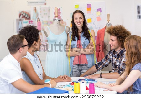 Attractive fashion designers in meeting