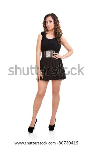 attractive fashion woman in black, short dress, isolated on white background - stock photo