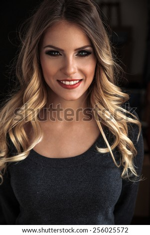 Attractive female blond hair woman portrait. - stock photo