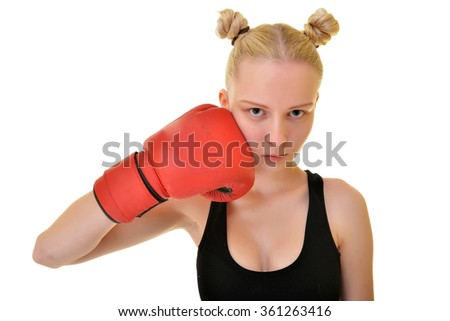 Attractive Female Boxer At Training