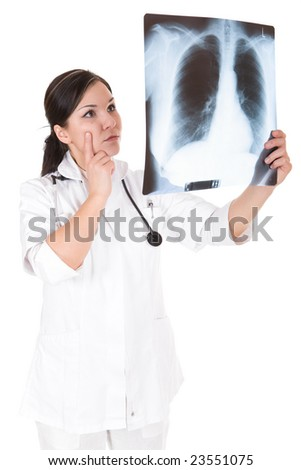 attractive female doctor isolated over white background