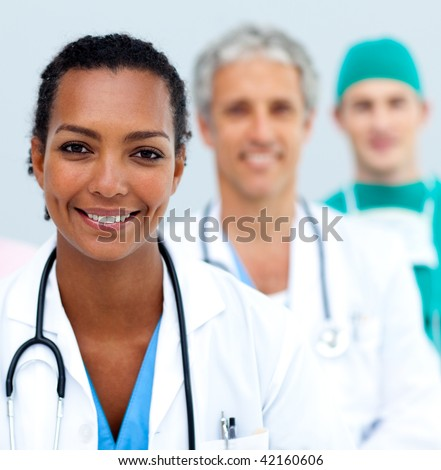 Attractive female Doctor standing - stock photo