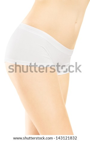 Attractive female in white cotton panties isolated on white background
