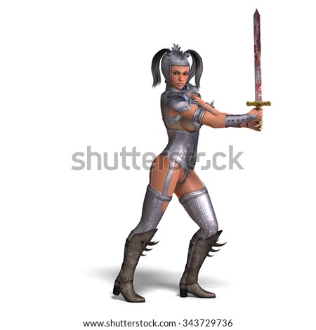 attractive female knight act as a guard. 3D rendering with clipping path and shadow over white - stock photo