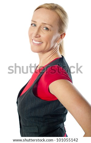 Attractive female posing happily in casuals isolated over white - stock photo