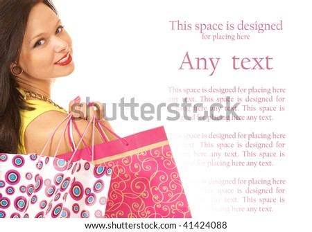 Attractive female shopper isolated on white - stock photo
