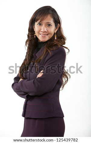 Attractive forties asian american business woman - stock photo