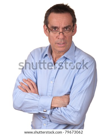 Attractive Frowning Surprised Middle Age Man in Blue Shirt