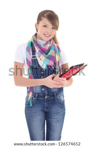 attractive girl holding tablet pc over white background - stock photo