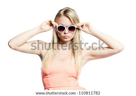 Attractive Girl in pink with white glasses - stock photo