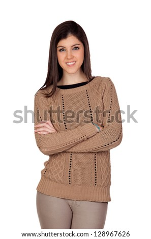 Attractive girl smiling isolated on a white background - stock photo