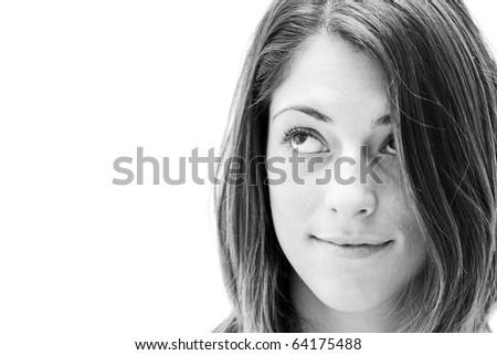 Attractive girl thinking - stock photo