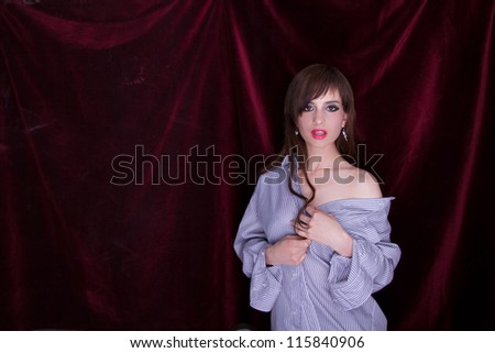 attractive girl wearing a man's shirt - stock photo