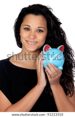Attractive girl with a blue piggy-bank isolated on white background - stock photo