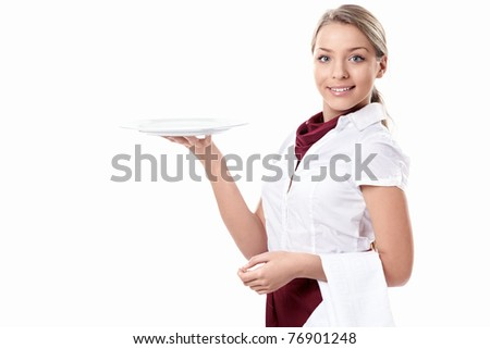 Attractive girl with an empty plate on a white background - stock photo