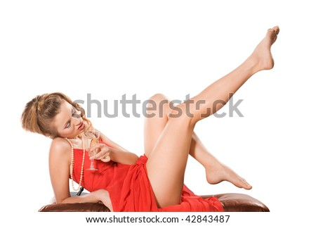 Attractive girl with champagne glass, isolated on white
