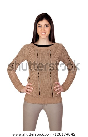Attractive girl with her hands akimbo isolated on white background - stock photo