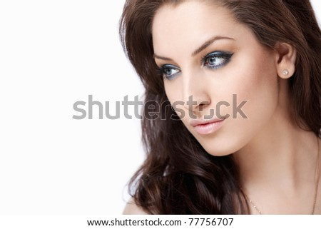 Attractive girl with makeup on white background
