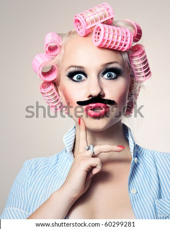 Attractive girl with mustache, similar available in my portfolio - stock photo