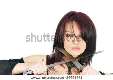 attractive girl with two knifes. isolated on white - stock photo