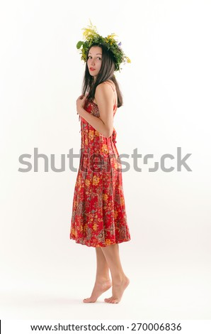 attractive girl with wreath - stock photo