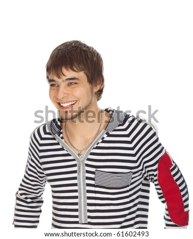 attractive guy laughs isolated on white - stock photo