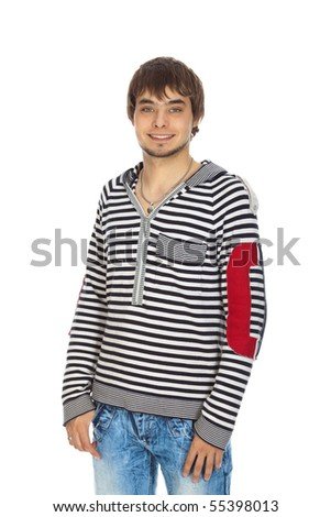 attractive guy smiling isolated on white - stock photo