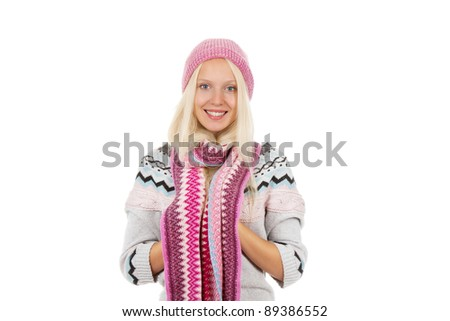 attractive happy smile young girl wear wear winter knitted pink hat scarf and sweater, isolated over white background - stock photo