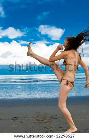attractive happy teen on the beach