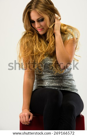 Attractive happy young woman posing - stock photo