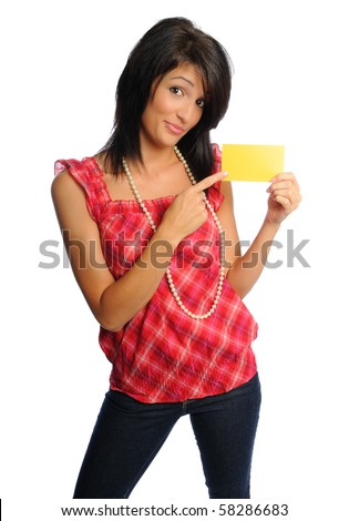 attractive hispanic woman on a white background holding school or office supplies - stock photo