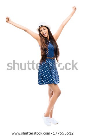 Attractive Indian woman celebrating success retro hipster - stock photo
