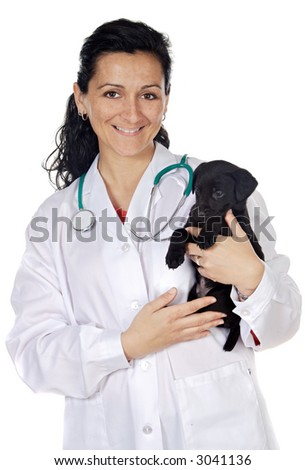 Attractive lady veterinarian over a white background