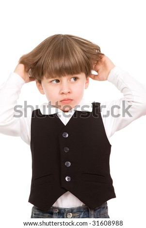 Attractive little boy isolated over white