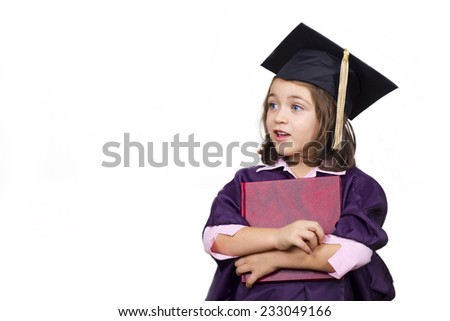 Attractive little girl in large graduation cap and gown with diploma over white background - stock photo